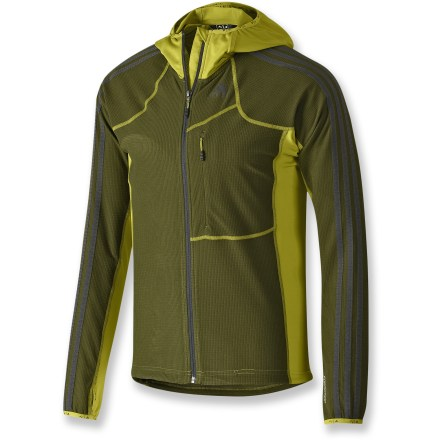 Fitness Kick your training into high gear with the adidas Terrex Swift Cocona hoodie. It wicks away moisture and allows full range of movement for hiking and running. 4-way stretch moves with you and the body-hugging fit enhances performance, both important during fast-paced mountain sports; ideal as a base or mid layer. Durable, stretchy side panels help control body temperature by regulating moisture evaporation from the skin. Cocona(R) fibers are fused into the polyester fibers to improve overall wicking, breathability, warmth, odor absorption and UV protection. Full-length front zip with a formfitting hood; cuff thumbholes extend warmth and coverage. adidas Terrex Swift Cocona Hoodie has a drawcord hem, elastic-bound cuffs and a zip chest pocket. Closeout. - $41.73