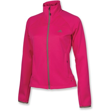 Camp and Hike The adidas Hiking 1-Side Fleece women's jacket is a great choice for warmth on the trail, in town or hanging around with friends after a fun day's activities. Breathable, quick-drying polyester offers warmth without a lot of weight, so you stay comfortable. Full-length front zipper allows for ventilation control and easy on and off. Zippered hand pockets keep essentials secure. Closeout. - $36.73