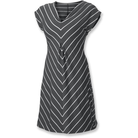 Entertainment With a figure-flattering, versatile style, plus quick-drying, easy-packing fabric, the Isis Moxie dress is ready to hit the road and have some fun. Quick-drying, wrinkle-resistant polyester is blended with smooth Tencel(R) lyocell and spandex for next-to-skin comfort. Fabric provides UPF 30 protection from harmful solar rays. FreshGuard(R) finish absorbs moisture and quickly pushes it through the fabric into the air to minimize odor creation. Moxie has a shaped fit, V-neck, cap sleeves and flattering seam detail. The Isis Moxie dress has a hidden security pocket at the hem. Closeout. - $46.93
