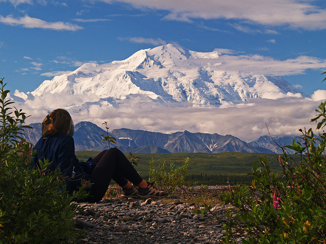 Camp and Hike  Denali from the McKinley Bar trail - with my wife in her mosquito headnet