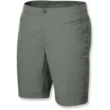 Camp and Hike Great for hiking and traveling, the quick-drying Isis Mad River Bermuda shorts feature a tailored fit and a longer length for comfortable coverage. Soft, lightweight nylon fabric resists wind and water, yet maintains breathability for comfort in warm weather. The Isis Mad River Bermuda shorts have 2 front welt pockets and 2 rear patch pockets. Closeout. - $22.73