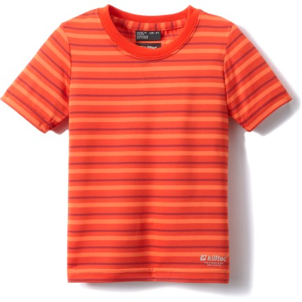 Entertainment The Killtec Bennie Mini T-shirt for toddlers features a lightweight, sun-protective fabric with an airy and breathable weave, perfect for young kids enjoying warm-weather fun. Fabric provides UPF 30 sun protection, shielding skin from harmful ultraviolet rays. Polyester fabric offers quick-drying, moisture-wicking performance for all-day comfort. - $3.83