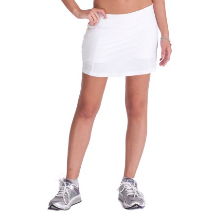 The 4-way stretch, moisture-wicking, and quick-drying Lole Sprint Skort provides modest and stylish coverage for your kick-butt workout. Recycled polyester and spandex blend stretches with you, feels soft against skin and wicks moisture away from your body. Shorts under skirt add comfort and modest coverage when you're on the go. Waistband offers a soft, secure fit. Zippered hip pocket lets you stash your key, ID or cash. Fabric provides UPF 30 sun protection, shielding skin from harmful ultraviolet rays. Closeout. - $17.73