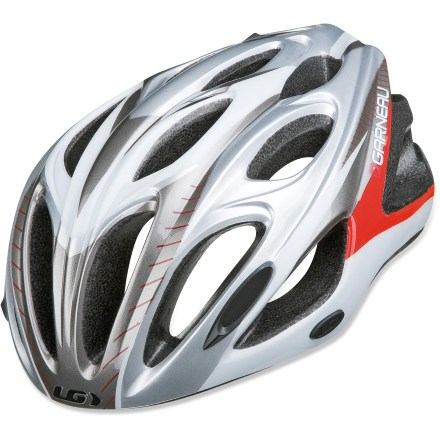 Fitness Lightweight and airy, the Louis Garneau Mundial II road bike helmet keeps you covered for weekend rides or daily commutes. In-mold construction fuses a tough outer shell to the helmet's liner to create a light, cool and tough helmet. Internal frame system reinforces the helmet's structure without compromising ventilation. 21 vents combine with channels through the helmet to evacuate hot air so your head stays cool and comfortable on summer days. Spiderlock Elite adjustment wheel at back of helmet requires only 1 hand to operate so you can quickly dial in the perfect fit. Washable, adjustable padding provides comfort. Louis Garneau Mundial II bike helmet meets CPSC-ASTM-CEN-AS 2063 standards for bicycle helmets. Closeout. - $22.73