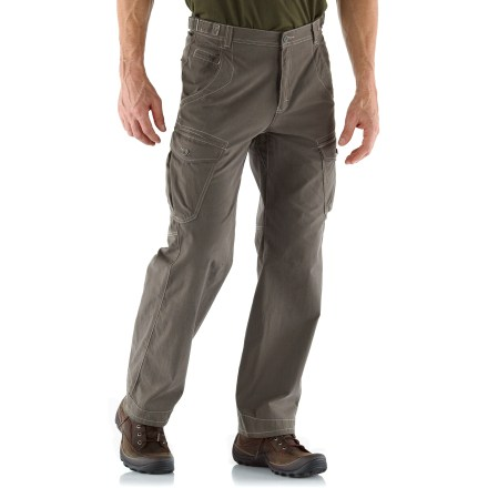 The 30 in. inseam REI Cliff Cave Cargo pants have pockets for everything you'll need to enjoy a day of urban exploring. Cotton/nylon midweight blend fabric stands up to regular wear yet has a soft hand for great comfort; fabric dries in under 4 hrs. With a UPF 50+ rating, fabric provides excellent protection against harmful ultraviolet rays. Button-close cargo pockets provide ample space for your urban essentials; hand pockets and rear pockets provide additional storage. Front hand pockets have a coin pocket and are designed to keep items from sliding out when you sit down. Waist adjustments at the sides let you fine-tune the fit. Gusseted crotch allows unrestricted range of motion. REI Cliff Cave Cargo pants have a relaxed fit that allows for comfort and freedom of movement. - $49.93