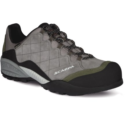 Fitness Blending supportive uppers, waterproof protection and a climbing-shoe outsole, the Scarpa Mystic GTX shoes will take you all the way from your driveway to the trailhead and up through your approach. Suede leather uppers are crisscrossed with reinforcing stitching to give reliable support and dependable performance on the approach and higher. Burly rubber rands protect feet and uppers from bumps and abrasion and make for nimble scrambling. Lacing extends all the way down to the toes to give a snug, precise fit; heel loops aid entry. Gore-Tex(R) waterproof membranes let feet breathe while protecting them from the elements, keeping them dry and comfortable. Nylon linings wick moisture away from your feet and dry quickly. Compression-molded, dual-density EVA midsoles deliver cushioning and comfort. Molded Vibram(R) Spyder rubber outsoles provide the sticky traction and excellent durability needed for approach versatility. Closeout. - $109.73