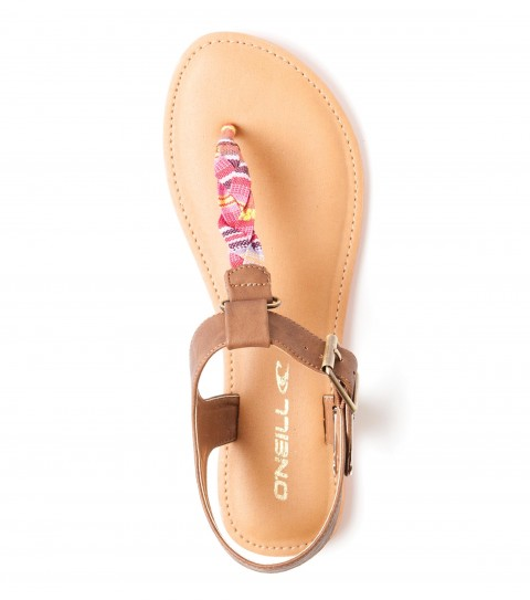 "Surf O'Neill Tavarua Sandals.  Faux leather upper with braided yarn-dye ""T"" strap; metal buckle closure; padded faux leather sock; EVA midsole; custom pop color rubber outsole. - $21.99"