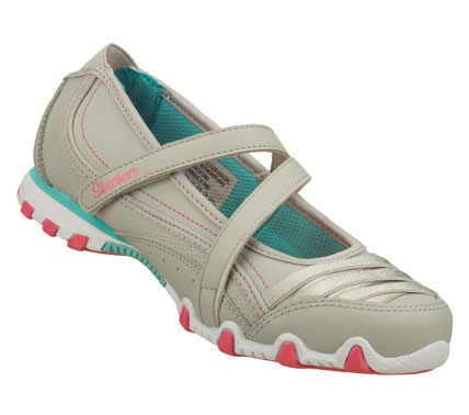 Entertainment Fun and comfort with a dressy accent comes in the SKECHERS Bikers - Pretty Party shoe.  Smooth leather and synthetic upper in a casual dress mary jane with stitching and overlay accents. - $43.00