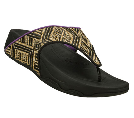 Surf Fashionable style and easy-wearing comfort comes in the SKECHERS Relaxed Fit: Tone-ups - Grassy Field sandal.  Woven natural material and fabric upper in a casual comfort thong sandal with complex woven detail and contrast fabric accents. - $50.00