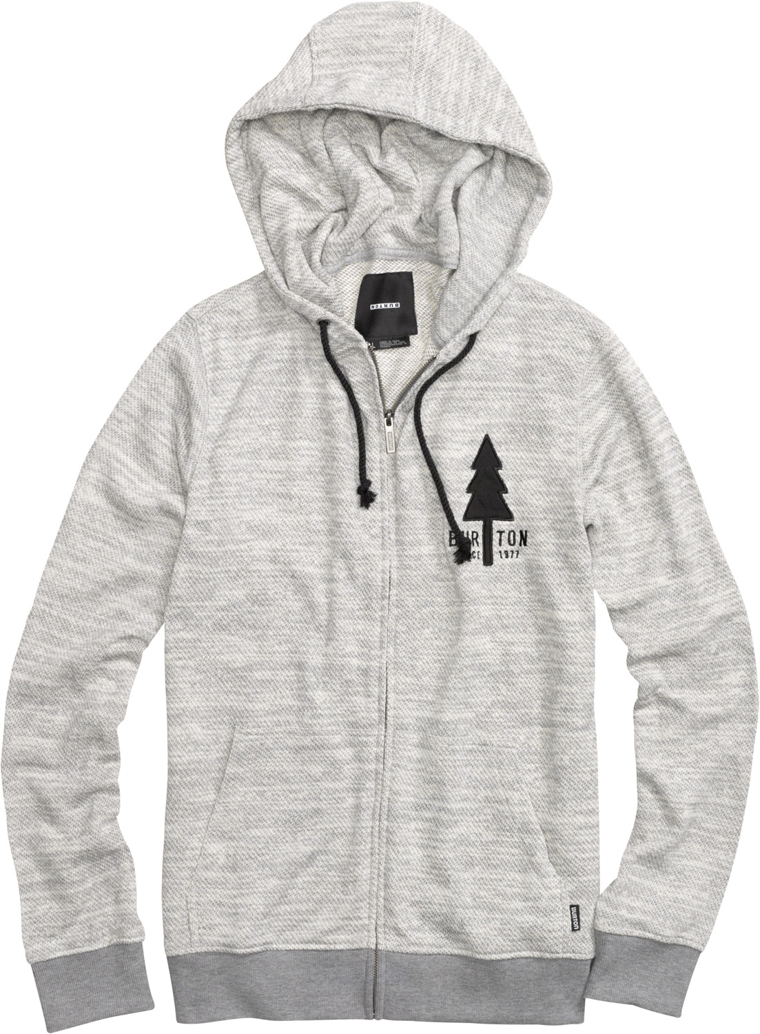Snowboard The Burton Yellowstone Fullzip Hoodie is a midweight sweatshirt and features an applique twill logo, handwarmer pockets, and Burton's Signature Fit for a relaxed and comfortable experience. It's perfect for everyday wear to work or school, or as a second layer underneath a windproof jacket. The Yellowstone Hoodie sweatshirt is made from a 360G 60-40 cotton/polyester French Terry cloth blend that ensures warmth and softness. The sweatshirt has a drawstring hood and Burton tree logo on the left side of the chest.  Yarn-Dye French Terry Full-Zip   60% Cotton, 40% Polyester, 360G   Twill Logo Applique   Sig Fit - $38.95