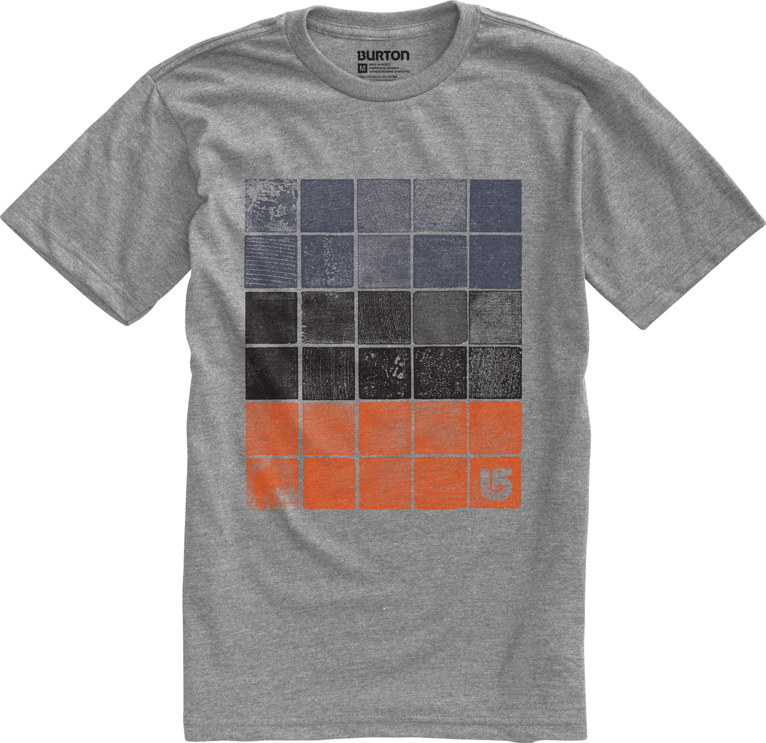 Snowboard Key Features of the Burton Woodblocks T-Shirt: 90% Cotton, 10% Polyester [Heather Gray] 100% Cotton [All Other Colorways] Screen Print on Front and Back Regular Fit - $12.95