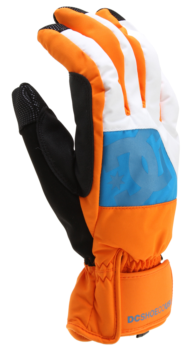 Snowboard 10k insulated glove in outerwear midweight fabric with nose wipe.3d puff embossing logo, grippy palm, pull tab synthetic leather thumb protection, lace cord carrier and crochet.Key Features of the DC Seger Snowboard Gloves: Standard insulated glove 100% polyester outerwear midweight - $40.00