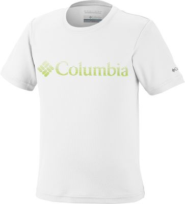 Entertainment Columbia Adventureland II Graphic Short-Sleeve Tee Shirt sports eye-catching graphics he will love paired with durable 100% polyester double pique you will appreciate. Quick-drying Omni-Wick technology pulls moisture away from the body for cool, dry comfort. UPF rating of 15 for protection from the sun. Imported. Sizes: 2XS-L. Colors: Riptide, White. Size: Small. Color: Riptide. Gender: Male. Age Group: Kids. Pattern: Graphic. Material: Polyester. Type: Short-Sleeve Tee Shirts. - $7.88