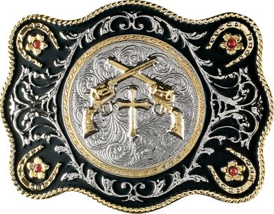 Entertainment When you wear this Western Edge Crossed Pistols Belt Buckle with pistols and synthetic rubies on it, theres no denying what kind of attitude you bring to the room. This silver- and gold-plated belt buckle has a durable, scratch-resistant electroplate finish with synthetic rubies and black-painted accents.Dimensions: 3W x 4L.Weight: 8.5 oz. - $34.99