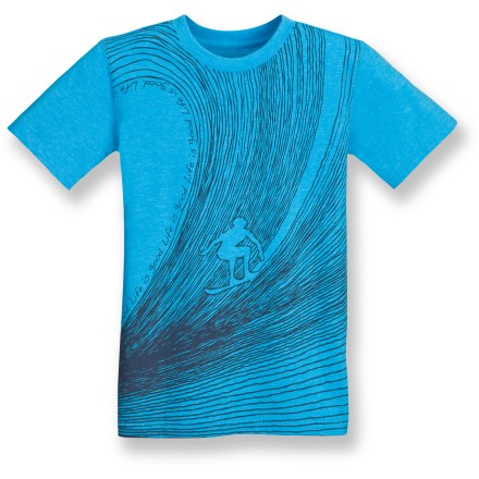 Surf Send your boy to school or to the beach in the colorful, surf-inspired Cool T-shirt from Life is good(R). Polyester/cotton blend wicks moisture away from skin to keep him cool, dry and comfortable. Closeout. - $9.73