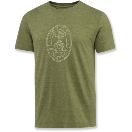Entertainment Perfect for leisurely rides or everyday wear, the Life is good(R) Cool T-Shirt features a soft feel and a outdoor-inspired logo. Cotton and polyester blend wicks moisture and offers excellent breathability. Semifitted. Closeout. - $11.73