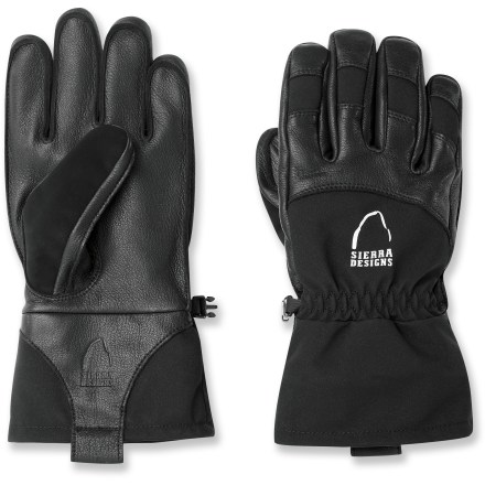 Snowboard Designed to keep your hands happy during cold-weather pursuits, the Sierra Designs Speakeasy gloves are warm and waterproof, helping you stay on top of your game while exploring the backcountry. Leather palms offer flexible, reliable grip; backs of gloves feature weather-resistant, breathable nylon softshell material. Extra leather across knuckles and on fingertips adds extra reinforcement and durability. Waterproof, breathable inserts stitched into the gloves' interiors keep your hands dry and comfortable even while spending all day in the snow. Outseam stitching construction ensures complete dexterity for superior control of poles and ice axes while on the mountain. Fleece linings provide cozy insulation. Soft, absorbent fabric between thumbs and fingers offer a non-abrasive place to wipe your nose or brow. Closeout. - $33.73