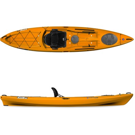 Kayak and Canoe Load it up with gear and hit the water! The Wilderness Systems Ride 135 sit-on-top kayak lets you enjoy recreational paddling, photography or fishing from an extremely stable platform. The Ride 135 offers enough stability to stand up if desired, and wide foot areas on deck make it easy to confidently get onto your feet. 13 ft. 6 in. length offers great tracking, and 550 lb. capacity lets you bring along lots of gear. Performance-oriented hull increases boat's speed and stability, helping it track straight as you explore inland waterways, flatwater and coastal areas. High-density polyethylene construction offers performance, durability and low maintenance. Phase 3 Air Pro Freedom Elite seat offers excellent comfort and intuitive adjustments. Mesh stretched over contoured foam forms a perforated pad; large holes enhance airflow, and small holes enhance support for sit bones and lower back. Scalloped, contoured seat pan cradles and cushions legs, and backrest conforms to you and flexes a bit with every paddle stroke. Icons show what each adjustment strap does, and all control points are forward of the paddler and centrally located to reduce strain. Small gear bag under seat features a gear clip and enough capacity for a water bottle or extra food. The seat may be completely removed for use as a beach chair when off the water. Footbraces are easy to adjust by hand and stand up to tough conditions. Orbix bow and midship hatches let you store gear away from splashes. Orbix hatch cover features a hinged design and locking lever; to open hatch, simply slide lever to unlock cover and flip open to access gear. Spacious stern tank well with bungee rigging holds a dry bag or tackle box. Molded cup holder with drain keeps hydration close at hand. Includes a paddle holder, self-bailing scupper holes, recessed deck fittings, a skid plate and a drain plug. - $969.00