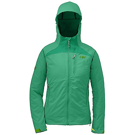 Free Shipping. Outdoor Research Women's Enchainment Jacket DECENT FEATURES of the Outdoor Research Women's Enchainment Jacket Water Resistant Wind Resistant Breathable Movement-Mirroring Stretch Welded Critical Seams Adjustable Wire-Brimmed Hood Single-Separating Front Zipper Internal Front-Zip Stormflap DWR Coated Zippers The SPECS Weight: (M): 15.8 oz / 448 g Trim Fit Center Back Length: 25in. / 63.5 cm 100% polyester fabric body, 100% polyester Schoeller fabric with Nanosphere Technology under arms This product can only be shipped within the United States. Please don't hate us. - $198.95