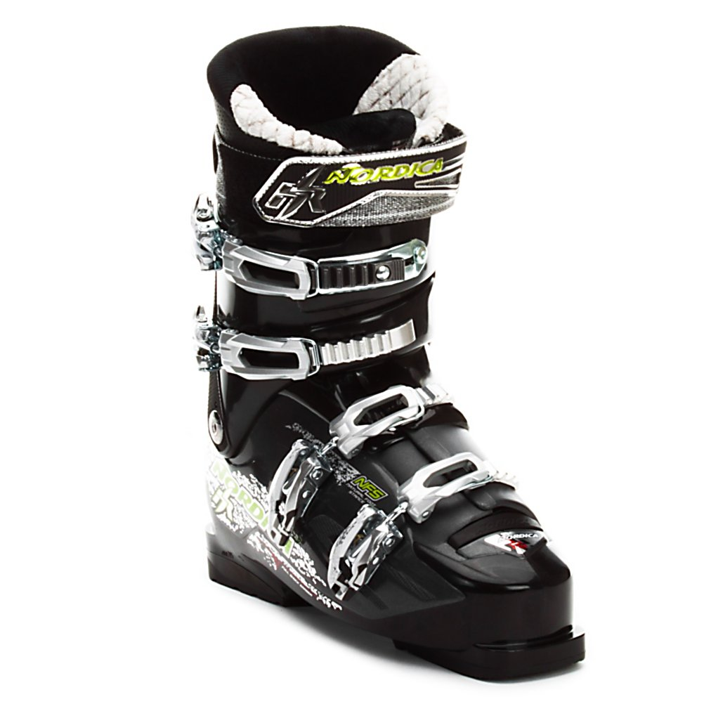 Ski Nordica Hot Rod 7.5 Ski Boots - The Nordica Hot Rod 7.5 is a perfect boot for someone who has rented equipment for a few years, and is ready to make an investment in their own gear. A good fit for a skier with a narrow to medium wide foot in both the cuff and forefoot. Nordica utilizes the Natural Foot Stance in all of its Hot Rod Boots. The NFS is an abducted foot stance (toes pointing outward) the way you would naturally stand, to improve your balance and energy transfer. The Precision Fit Liner is plush and comfortable, and takes less time to pack out, keeping your fit truer longer. The Full Shock Eraser is a dampening system in the boot. Padding in the tongue, calf, toes, and boot board absorb negative vibrations, so you can sit back and relax as you take long and winding runs in the sunshine. If your are a mellow skier, with a narrow to medium wide foot, that is looking for comfort, and to improve your skiing, the Nordica Hot Rod 7.5 would be a great boot for you. . Skill Range: Intermediate - Advanced Intermediate, Model Year: 2012, Product ID: 229988, Category: Downhill, Buckle Material: Aluminum Mix, Buckle Count: 4, Flex Adjustment: No, Forefoot Width: 102mm, Sidecountry: No, Freestyle: No, Number of Micro Buckles: 4, Prewired For Heat: No, Ski/Walk: No, Used: No, Race: No, Flex: Soft, Special Features: Full Shock Eraser, Ski Boot Width: Medium (100-103mm), Special Features: Natural Foot Stance, Gender: Mens, Warranty: One Year, Cuff Alignment: Single, Actual Flex: 75 - $149.90