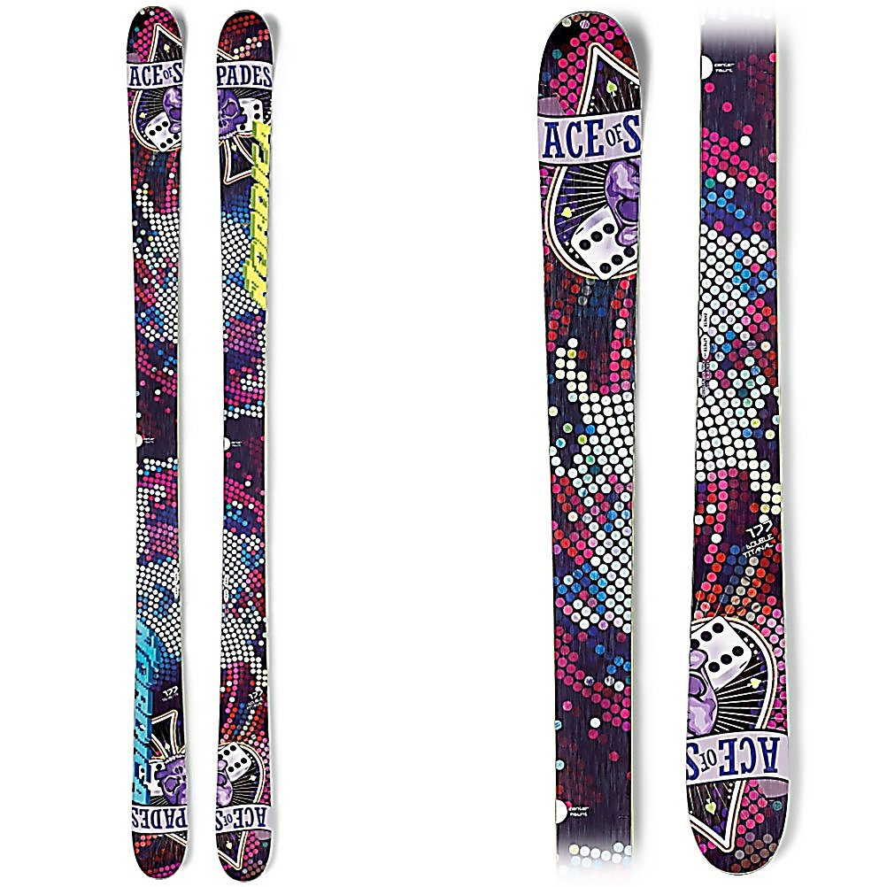 Ski Nordica Ace of Spades Girls Skis - When your child's been eyeing the park and pipe, and even tried a few runs on his all-mountain skis, well that means it's time to invest in a pair of twin tips. The Ace of Spades Jr from Nordica is just for him. A partial sidewall construction (cap construction in the tip and tail with a sidewall underfoot) gives him just the right amount of forgiveness needed for a lighter weight skier, and good edge grip for stability and power. The Twin Pop Camrock rocker profile is rocker in the tip and tail with 3mm of camber underfoot. A perfect ski for your little guy that is ready for the next level of kids ski, and when he is ready to test his park skills. At 74mm underfoot the Ace of Spades Jr is not just a park ski, it has great all mountain capabilities as well. Get your Nordica Ace of Spades Jr today! . Tip/Waist/Tail Widths: 105/74/96mm (@ 128cm), Actual Turn Radius @ Specified Length: 11m (@ 128cm), Warranty: One Warranty, What Binding is Included?: N/A, Construction Type: Cap/Sidewall, Core Material: Wood, Base Material: Sintered, Tail Profile: Twin, Special Features: Twin Pop camRock, Special Features: Energy Frame Ca Partial Sidewall, Bindings Included: No, Binding DIN: N/A, Rocker: Camber, Binding Weight Range: N/A, Used: No, Titanium: No, Turn Radius: 11-15, Waist Width: 70-75mm, Skill Range: Intermediate - Advanced, Model Year: 2013, Product ID: 309679, Model Number: 0A217200 001 128, GTIN: 0885315226389, Ski Gear Intended Use: All Mountain, Type: All-Mountain Skis (75-90 - $169.95