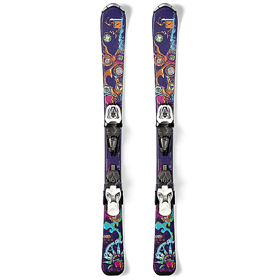 Ski Nordica Cinnamon Kids Skis with M7.0 Fastrak Bindings - For the young girl who is ready to get on her first pair of skis, the Nordica Cinnamon Skis are a great way to get going. Whether your little skier is completely new to the sport or she's had a few seasons to graduate from the bunny hills, these skis will help her continue on the path to greatness. A full cam CamRock will allow for precise turn initiation as well as stability as she gains speed. Rebound and edge grip are the best on the firmest snow so she can truly learn how to go from the pizza wedges to sharp turns. Start off the next generation of skiers on the right pair of skis and bindings. With the Nordica Cinnamon Skis with Fastrack bindings, she will have a very reliable pair of skis with a fun design that she can take to the mountain. . Tip/Waist/Tail Widths: 106/66/94m (@ 130cm), Actual Turn Radius @ Specified Length: 10m (@ 130cm), Warranty: One Year, Construction Type: Cap, Core Material: Wood, Base Material: Sintered, Tail Profile: Flat, Special Features: Energy Frame Ca, Special Features: Full Cam camRock, Rocker: Camber, Used: No, Titanium: No, Turn Radius: - $149.90