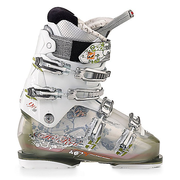 Ski Nordica Hot Rod 90 Womens Ski Boots - If you're an intermediate to advanced skier whose looking for a high performance boot to match their desire to be their best on the mountain then the Nordica Hot Rod 90 Ski Boots are the ones for you. These Hot Rods will keep you looking sharp and feeling good. From its Precision Womens Fit Liner that keeps your toes warm and comfortable to the Natural Foot Stance design, you'll have reduced fatigue and more ability to carve down the most challenging black diamonds. This design gives you more precision at less effort so you have the very best balance and performance. The Hot Rods are made with a Full Shock Eraser which minimizes the shock of crud and small moguls as you're speeding down the mountain. Take on the entire mountain in a pair of ski boots that were designed to ensure you play at your highest peak. Make sure you have the Nordica Hot Rod 90 Ski Boots to tackle any trail from the highest elevation down to the base. . Actual Flex: 90, Cuff Alignment: None, Warranty: One Year, Special Features: Natural Foot Stance, Ski Boot Width: Medium (100-103mm), Special Features: Full Shock Eraser, Flex: Stiff, Used: No, Ski/Walk: No, Prewired For Heat: No, Number of Micro Buckles: 4, Forefoot Width: 102mm at Reference Size 25.5, Flex Adjustment: No, Buckle Count: 4, Buckle Material: Aluminum, Category: Downhill, Ski Gear Intended Use: All Mountain, Instep Height: Medium, Calf Volume: Medium, Skill Range: Advanced Intermediate - Expert, Model Year: 2012, Product ID: 309682, Model - $179.93