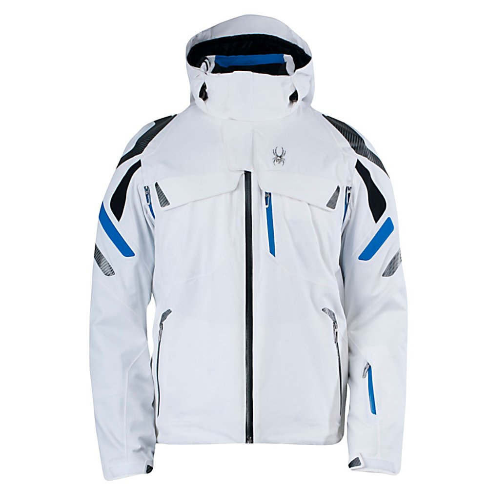 Ski Spyder Monterosa Mens Insulated Ski Jacket - The Spyder Monterosa Jacket is the pinnacle of the Spyder Legend series. The Monterosa Jacket has every piece of technology that you will need to provide you with all your needs and wants that will increase your desire to take your skiing talent to the next level. The Monterosa Jacket provides you with extreme warmth, no bulk and light weight keeping you comfortable with total freedom of movement. Removable powder skirt with stretch panel with a snap back feature holds powder skirt away when not in use. OSMO technology allows sweat to rapidly move away from your body - allowing you to keep dry and comfortable. If looks were everything, The Monterosa Jacket says it all, you have the complete package of desirable ski attire with Recco Avalanche Rescue System to take you to the top of your game or to the top of the mountain. Features: Core ventilation system, Velcro adjustable cuffs with gussets, Internal zippered pocket, Seamless goggle pockets, Chamois lens wipe. Hood Type: Removable, Pit Zip Venting: Yes, Powder Skirt: Yes, Bearing Grade: Performance, Warranty: Lifetime, Battery Heated: No, Cuff Type: Velcro, Wrist Gaiter: Yes, Waterproof Zippers: Yes, Cinch Cord Bottom: Yes, Model Year: 2013, Product ID: 309929, Model Number: 123024100 S, GTIN: 0886311203381, Breathability: Extreme Breathability (> 20,001g), Waterproof: High Waterproofing (15,001 - 20,000mm), Insulation Type: Synthetic, Length: Medium, Cut: Regular, Type: Insulated, Race: No, Use: Ski, Hood: Yes, Goggle/Sung - $429.95