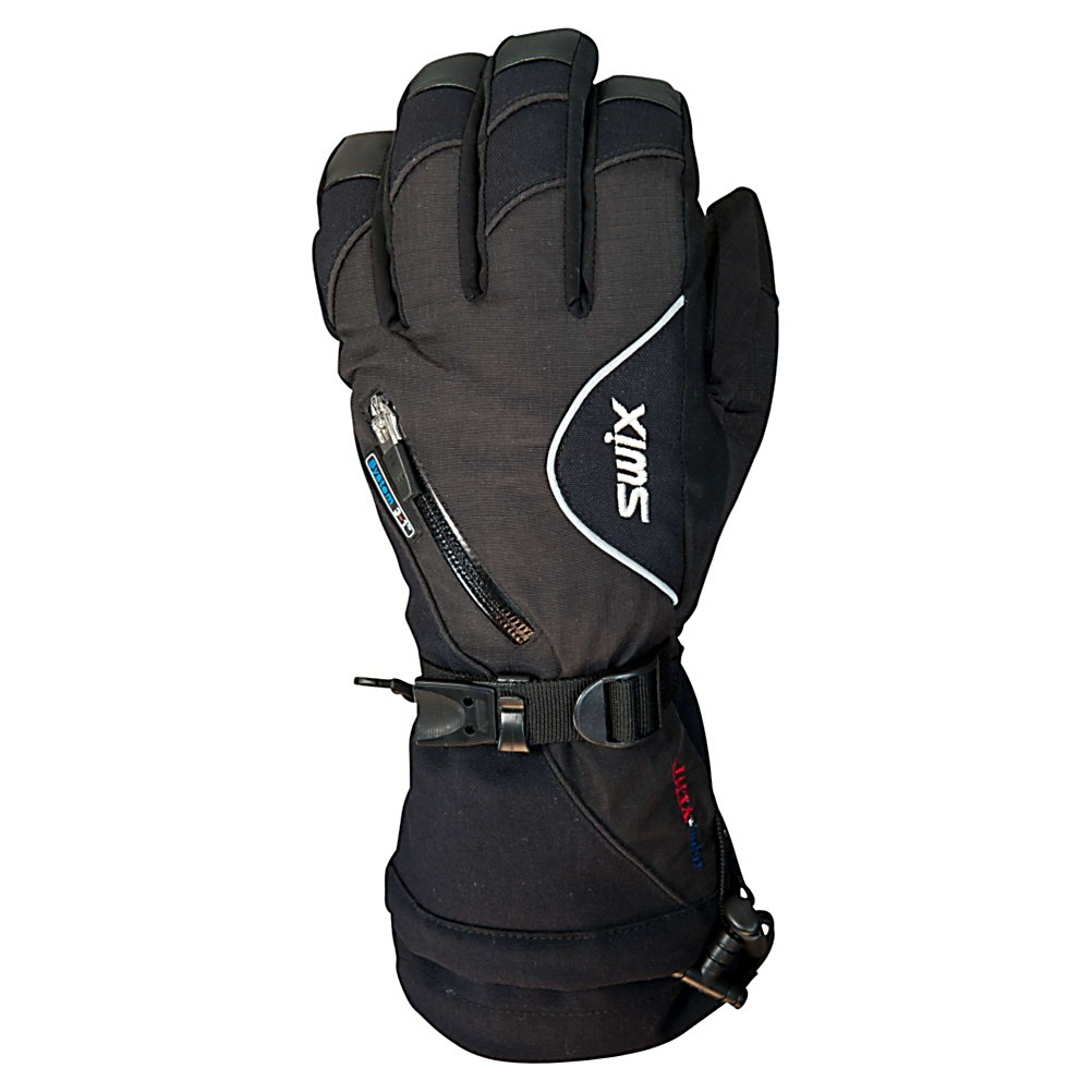 Snowboard Swix Sidewinder Womens Gloves - The Swix Sidewinder Womens Gloves are a fully insulated and waterproof with a 4-way stretch liner glove and finished palm. The Cordura and Ripstop outershell offers durable protection and locks in your high energy heat. The heat pack/venting pocket with a zipper closure supplies additional warmth when needed. The aquaVENT waterproof insert with MicroLoft Insulation seeks the level of warmth you desire when colder weather conditions arise. With the Uni-T Pull cord you have complete hand and upper hand warmth coverage. The Swix Sidewinder Glove allows you to practice your sport and you know you are well protected and warm. . Removable Liner: Yes, Material: Nylon, Warranty: Other, Battery Heated: No, Race: No, Type: Glove, Use: Ski/Snowboard, Wristguards: Yes, Outer Material: Softshell, Waterproof: Yes, Breathable: Yes, Pipe Glove: No, Cuff Style: Over the cuff, Down Filled: No, Touch Screen Capable: No, Product ID: 310350, Model Number: H1056-10000-M, GTIN: 7045951596359 - $69.95