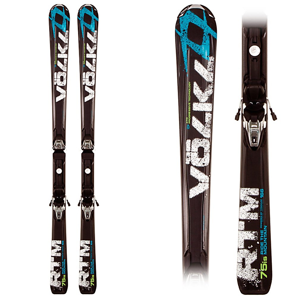 Ski Volkl RTM 75 iS Skis with 4Motion 11.0 TC Bindings - The RTM 75 iS is a perfect tool to help athletic beginners to solid intermediate skiers start experiencing more than just marked and groomed trails while improving technique at the same time. Starting with a 75mm waist RTM 75 iS has a stable shape for on trail performance. By adding the Dual Wood Core to this shape, two wood stringers surrounded with a PU core and wrapped in fiberglass, the RTM 75 iS is a very lively ski with energetic pop and strong rebound for responsive and dynamic turns. For a bit of additional power XTD Transmission technology is added placing extra material over the edges of the RTM 75 iS for increased edge hold without making the ski require more energy to turn. Keeping the RTM 75 iS silky smooth is important for feeling confident and progressing so Tip Rocker and Progressive Technology tackle this on three fronts. First the Tip Rocker allows for consistent turns in any snow condition. Then Progressive Edge, extending the widest part of the ski past the contact point, provides directional stability but only engages when the ski is on edge for a confident and catch free tip. Lastly, Progressive Flex, a thinning center to the tail, makes the tail soft when exiting a turn for less acceleration out of the turn for more controlled release and preventing the ski from forcing you to sit back. As a final touch the 4Motion system is built into the XTD Transmission profile increasing edge hold and responsiveness in the RTM 75 iS. Whether you are looking for a sk - $599.95