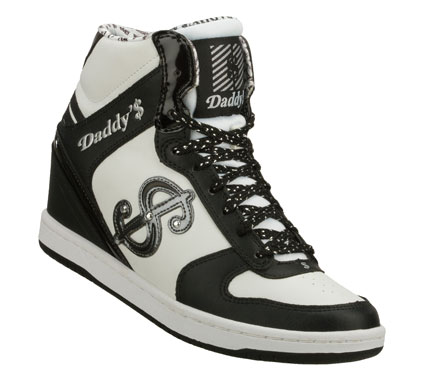 Look like a million bucks wearing the Daddy'$ Money - Moolah shoe.  Smooth leather and synthetic upper in a lace up casual high top wedge sneaker with stitching and overlay accents. - $52.50