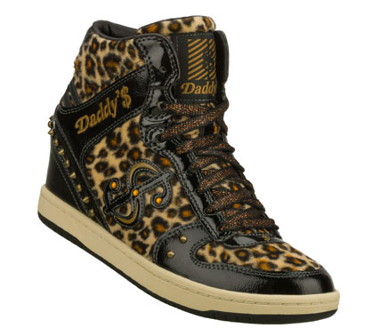 Entertainment Go on the prowl in signature style with the Daddy'$ Money: Moolah - Purrr shoe.  Shiny patent leather and wild animal patterned fabric upper in a lace up casual hidden wedge high top sneaker with stitching; overlay and metal stud detail. - $52.50