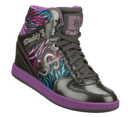 Star in your own fashion feature with the Daddy'$ Money: Moolah - Wonderland shoe.  Smooth shiny patent finish leather and sequin finish fabric upper in a lace up casual high top sneaker with stitching and overlay accents. - $52.50