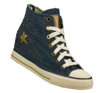 Your style is big and bright in the Daddy'$ Money: Gimme - Lone Star shoe.  Soft woven canvas or denim fabric upper in a lace up casual high top hidden wedge sneaker with stitching accents and metal stud detail. - $45.00