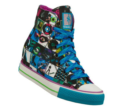 Style with long-playing attitude comes in the Daddy'$ Money: Gimme - Rock N Roller shoe.  Soft satiny fabric upper with colorful album-cover print in a lace up casual hidden wedge high top sneaker with stitching and overlay accents. - $30.00