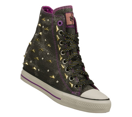 Entertainment Strike it rich in fun fashionable style with the Daddy'$ Money: Gimme - Megabucks shoe.  Soft woven canvas fabric upper in a lace up casual high top hidden wedge sneaker with stitching and metal stud detail. - $50.00