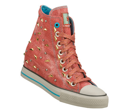 Entertainment Strike it rich in fun fashionable style with the Daddy'$ Money: Gimme - Megabucks shoe.  Soft woven canvas fabric upper in a lace up casual high top hidden wedge sneaker with stitching and metal stud detail. - $70.00
