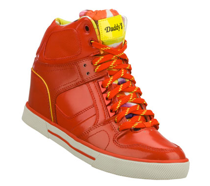 Entertainment Ring up the cool sporty kicks with the Daddy'$ Money: Cha-Ching shoe.  Smooth patent-finish leather and synthetic upper in a lace up sporty casual high top sneaker with stitching; overlay and perforation accents. - $60.00