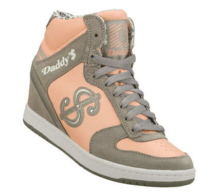Entertainment Show all your fashion know how in the Daddy'$ Money: Moolah - Tricksee shoe.  Smooth leather; suede and synthetic upper in a lace up casual high top hidden wedge sneaker with stitching and overlay accents. - $45.00