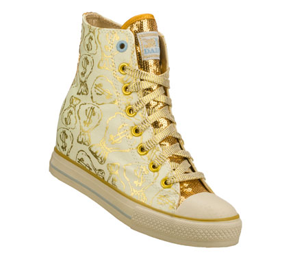 Entertainment Grab that loot with the Daddy'$ Money: Gimme - Moneybags shoe.  Soft woven canvas fabric with moneybag metallic print design in a lace up casual hidden wedge high top sneaker with stitching and overlay accents. - $60.00