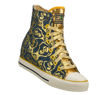 Entertainment Grab that loot with the Daddy'$ Money: Gimme - Moneybags shoe.  Soft woven canvas fabric with moneybag metallic print design in a lace up casual hidden wedge high top sneaker with stitching and overlay accents. - $55.00