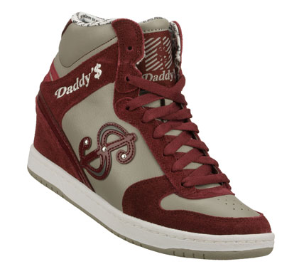 Entertainment Show all your fashion know how in the Daddy'$ Money: Moolah - Tricksee shoe.  Smooth leather; suede and synthetic upper in a lace up casual high top hidden wedge sneaker with stitching and overlay accents. - $60.00