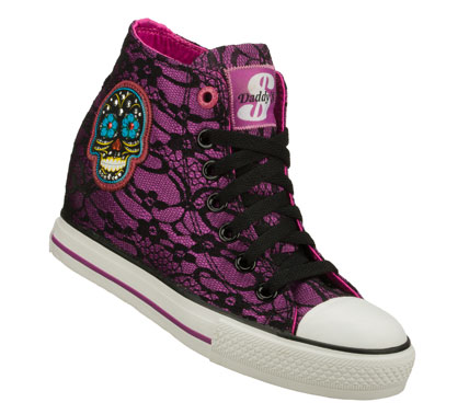 Entertainment Add some spooky fun style to your look with the Daddy'$ Money: Gimme - Skulls shoe.  Soft metallic fabric upper with unique lace fabric overlay in a lace up casual sporty hidden wedge sneaker with stitching accents and skull detail. - $40.00