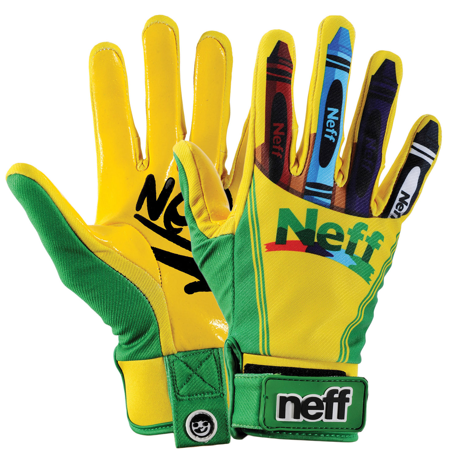 Snowboard Key Features of the Neff Chameleon Gloves: Stretch poly twill 2x PU coated chassis Synthetic leather palm with no slip grip silicon print Neoprene wrist with TPR hook and loop wrist closure Palmside pull tab Pre-curve finger geometry - $29.95