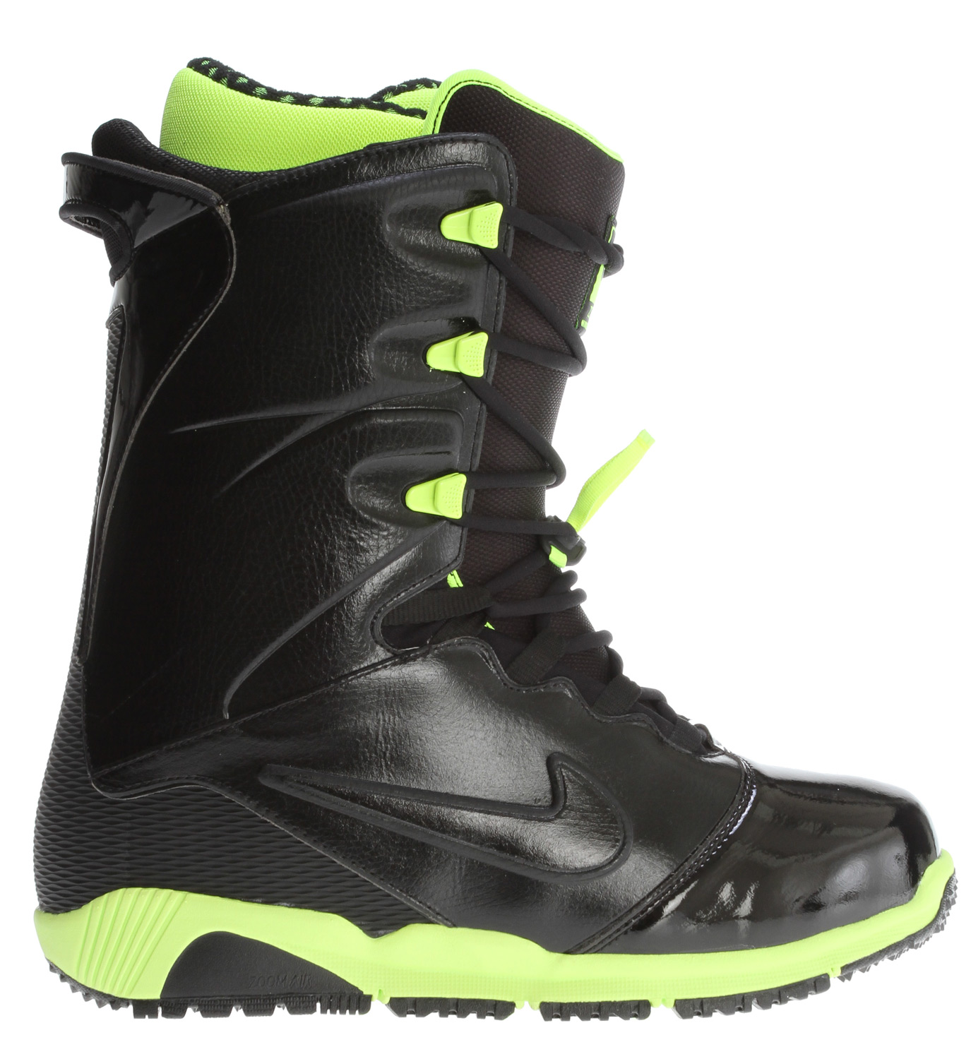 Snowboard Here's your chance to buy the Nike Zoom Ites snowboard boot for 2013 in an awesome black/volt yellow colorway. Quite possibly the most advanced boot ever produced for snowboarding, the snow design team at Nike spared no expense on the Ites. Drawing it's inspiration from both the best-selling Zoom Kaiju boot and Nike's running heritage, the fit is amazing. Couple that with the Ites' unique flex-control system and you're experiencing a revolution in snowboard footwear. The Zoom Ites - quite possibly the last boot you'll ever need! Key Features of the Nike Zoom Ites Snowboard Boots: Flex control system for custom performance tailored to your riding style Fully synthetic leathers with flex notches and external TPU backstay Flywire technology internal lacing harness Outlast temperature control technology Webbing lace system with neoprene eyestay for ease of tightening Nike Snowboarding lace-lock for zonal tightening and support No seam on toe for added longetivity and resillience Space Blanket strobel construction for added warmth and enhanced fit Midsole: Phylon with embedded Nike Zoom unit Outsole: Nike Free inspired siped rubber Support: 6-8 out of 10 (depending on positioning of custom flex control system) - $279.95