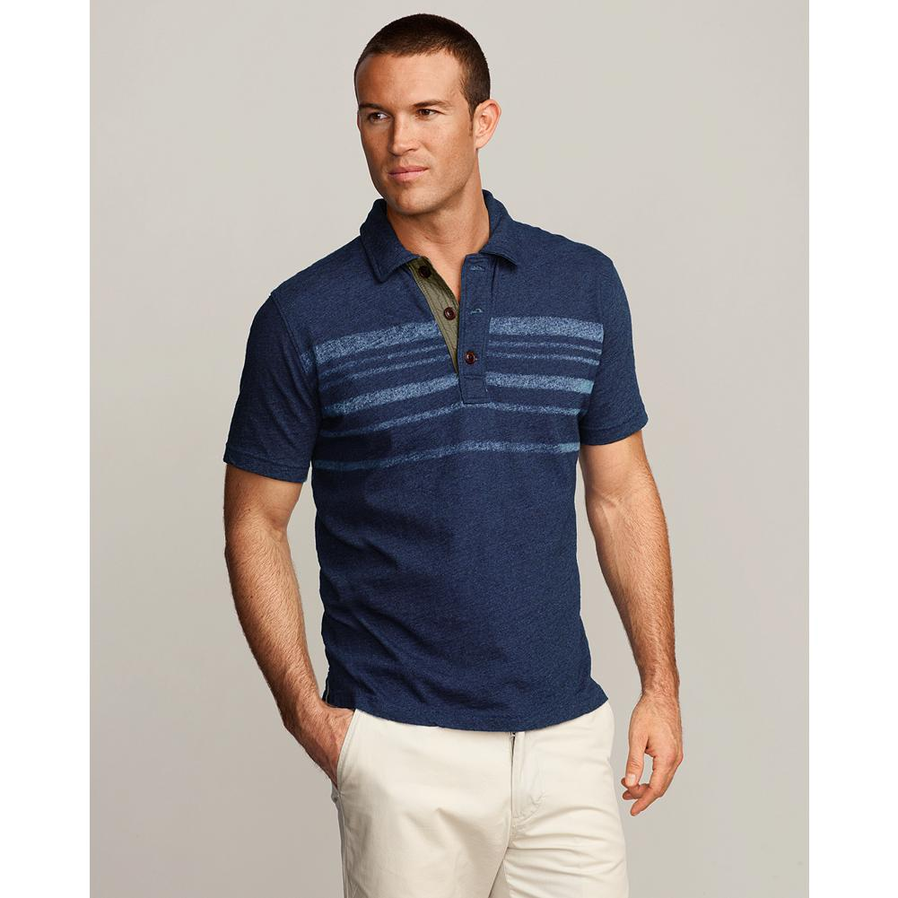 "Eddie Bauer Classic Fit Indigo Striped Polo Shirt - Broken in and softly textural, our jersey knit polo is dyed using a special technique to create deep, true indigo shades. Woven details on placket and inside back neck. Classic fit. Length: 28.5"". Imported. - $14.99"