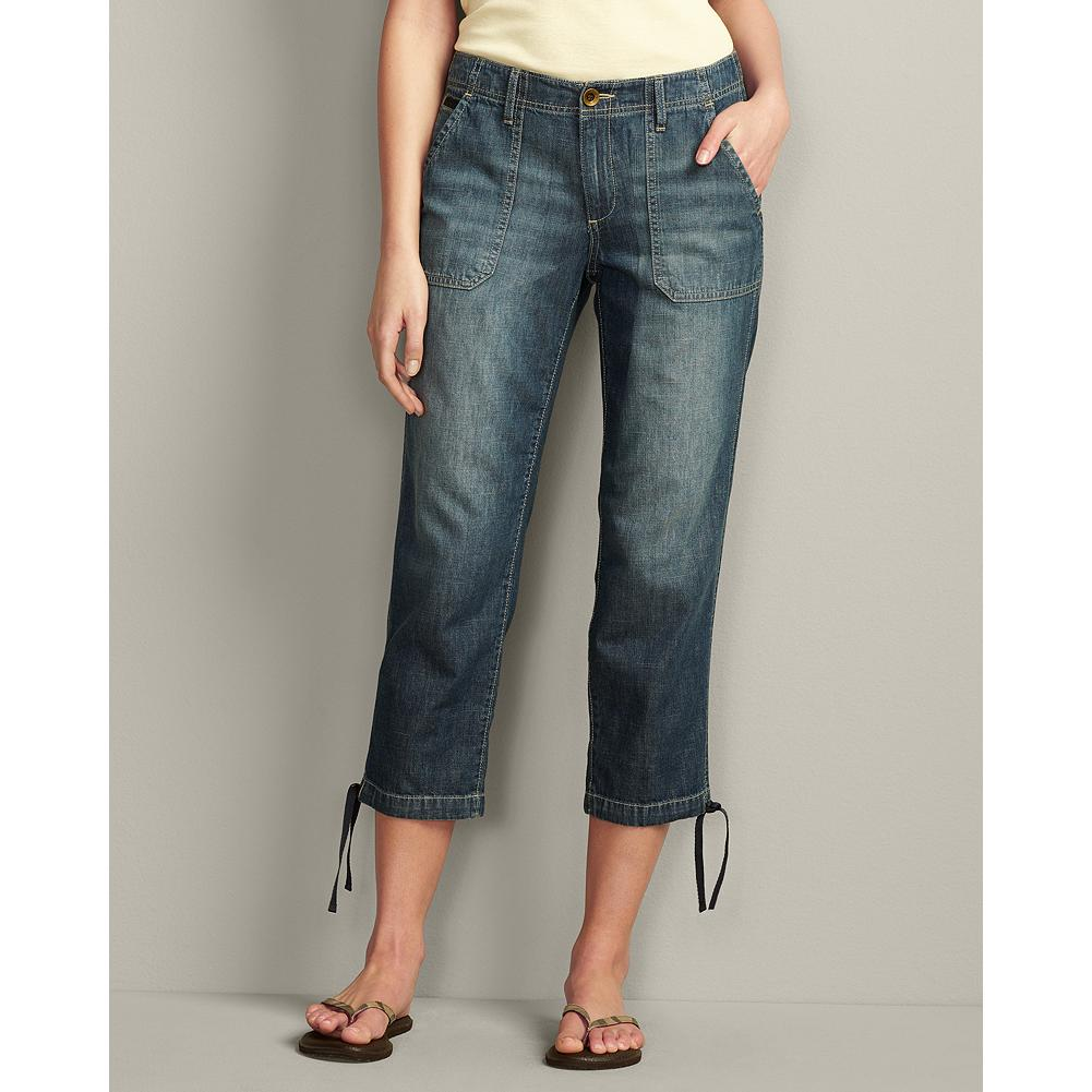 Eddie Bauer Curvy Lightweight Denim Cropped Pants - Comfortable and easy-going, our Curvy Lightweight Denim Cropped Pants are the perfect weight for warmer temperatures. The casual styling includes stitched-down front pockets, button-flap back pockets, and drawstring leg openings. Also available in shorts and pants versions. - $29.99