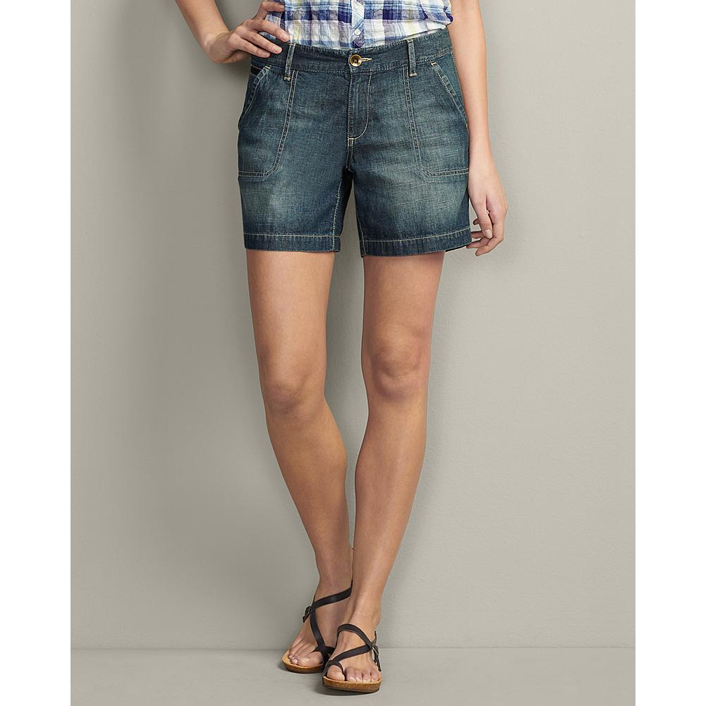 Eddie Bauer Curvy Lightweight Denim Shorts - Comfortable and easy-going, our Curvy Lightweight Denim Shorts are the perfect weight for warmer temperatures. The casual styling includes stitched-down front pockets, button-through back pockets, and small side slits at hem. Also available in pants and cropped pants versions. - $14.99