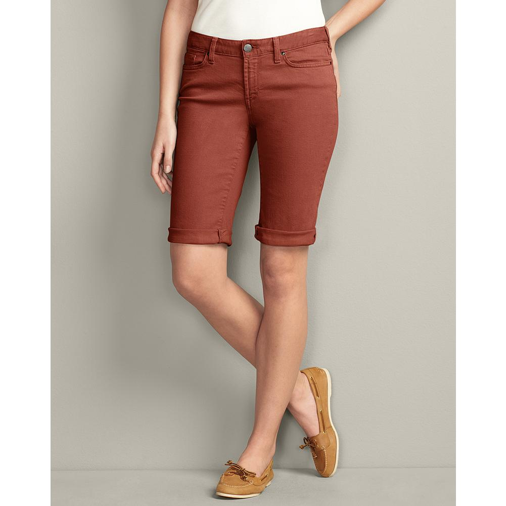 Eddie Bauer Slightly Curvy Color Denim Bermuda Shorts - The weight of our slightly curvy denim Bermuda shorts are specially chosen to ensure the rolled hems are not too snug or appear bulky, and the soft stretch denim is over-dyed for a rich, saturated color. - $14.99