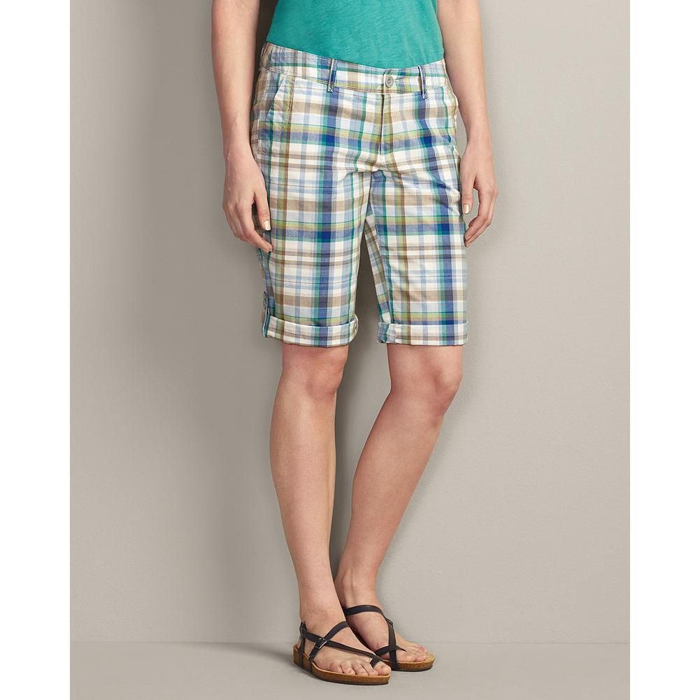 "Eddie Bauer Textured Cotton Weekend Roll Shorts - Plaid - Lightweight 100% cotton poplin fabric with a peached finish for ultimate softness, our comfortable, relaxed-fitting Weekend Roll Shorts and made with yarn-dyed plaids to create rich, clear colors. Also available in solid colors, and in 7"" and Bermuda versions. - $14.99"